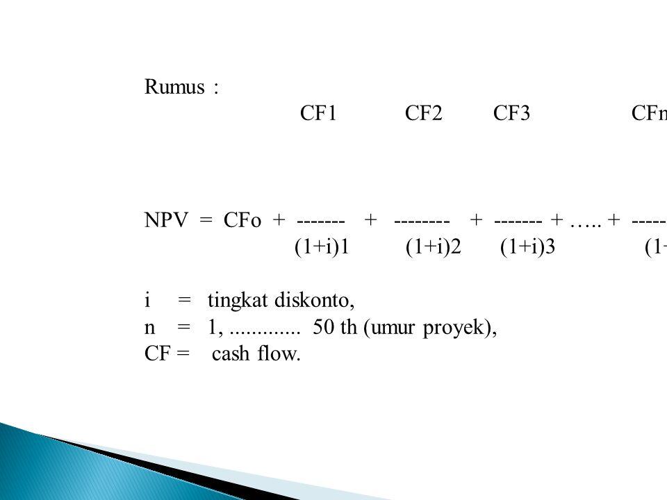  Net Present Value (NPV) NPV =(Cash Flows x Present Value) – Investasi NPV = +  DITERIMA NPV = -  DITOLAK  Internal Rate of Return (IRR) Mendiskon