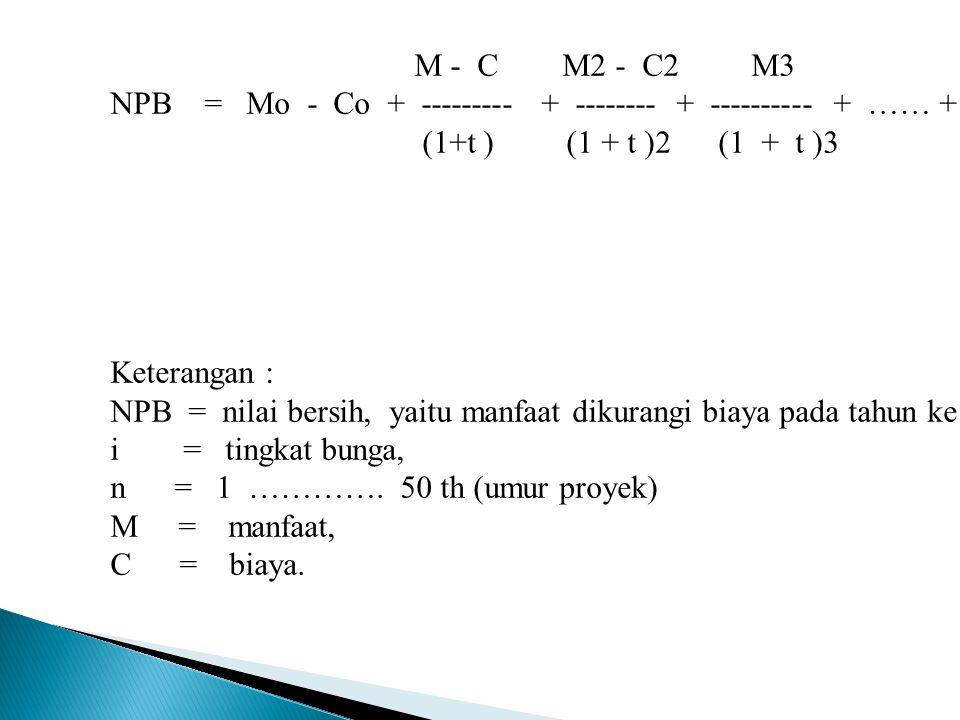 Rumus : CF1 CF2 CF3 CFn NPV = CFo + ------- + -------- + ------- + ….. + ------- (1+i)1 (1+i)2 (1+i)3 (1+i)n i = tingkat diskonto, n = 1,.............