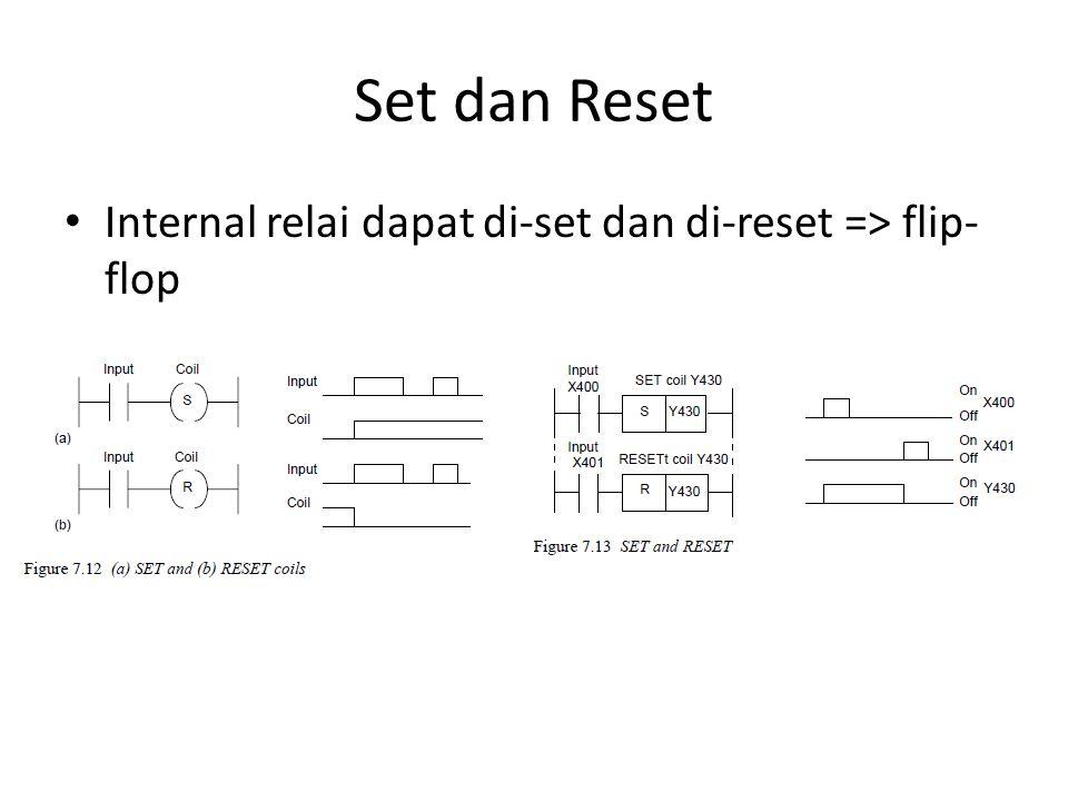 Set dan Reset Internal relai dapat di-set dan di-reset => flip- flop