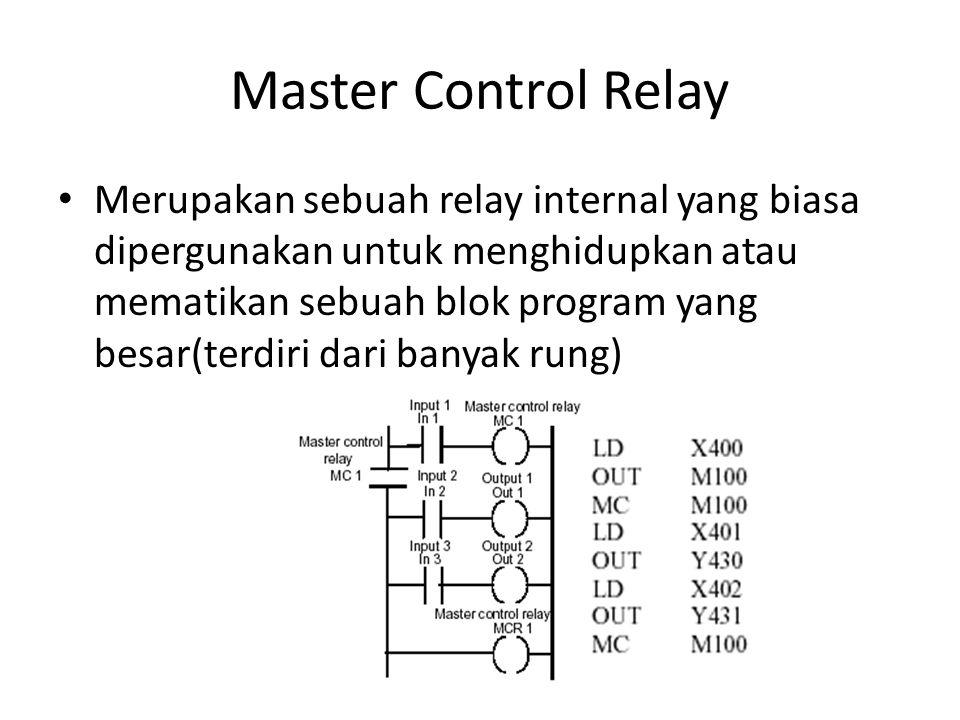 Master Control Relay Merupakan sebuah relay internal yang biasa dipergunakan untuk menghidupkan atau mematikan sebuah blok program yang besar(terdiri