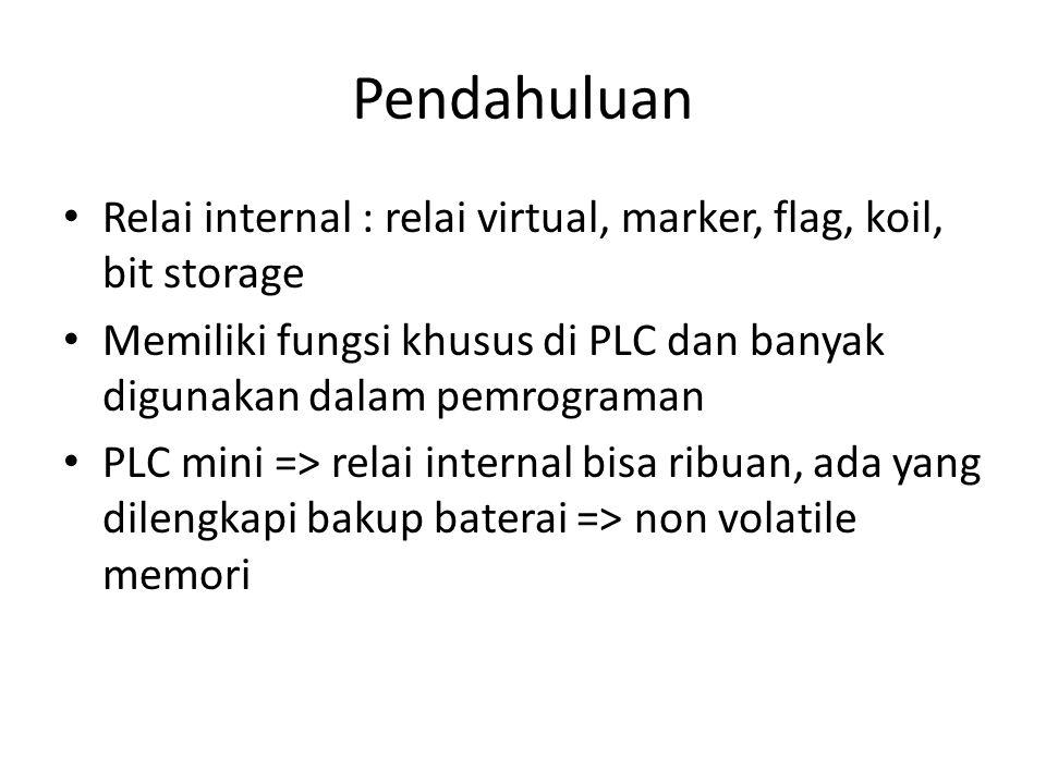 Pendahuluan Relai internal : relai virtual, marker, flag, koil, bit storage Memiliki fungsi khusus di PLC dan banyak digunakan dalam pemrograman PLC m