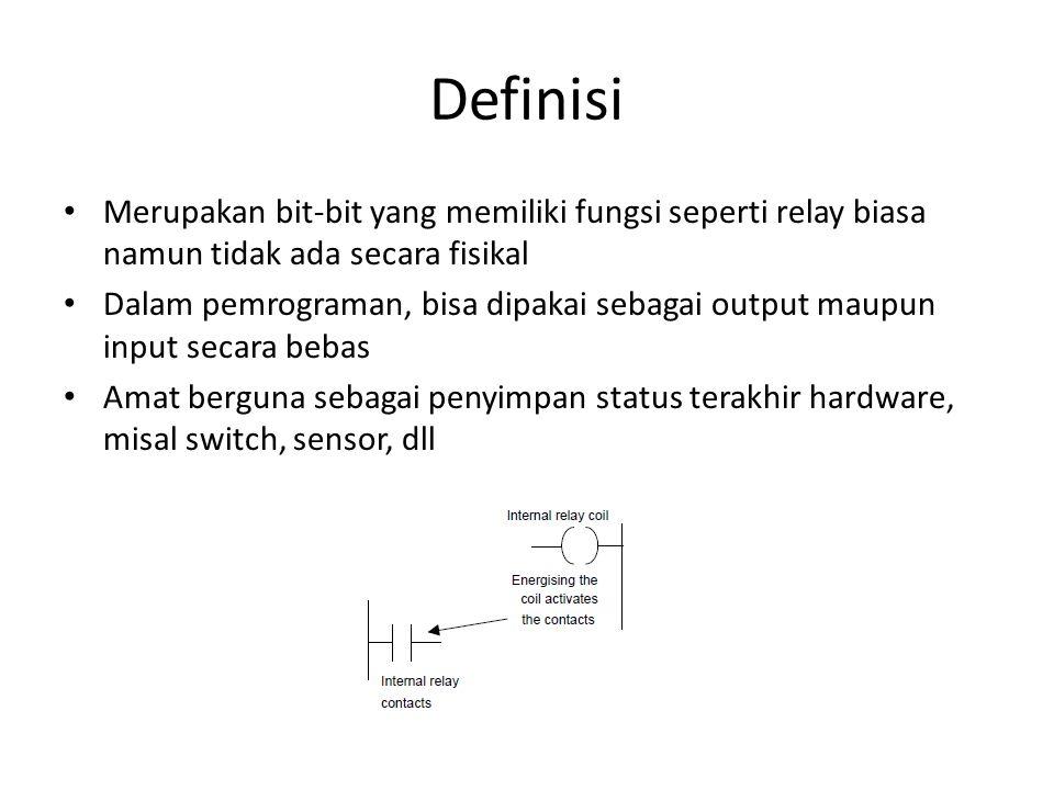 Untuk membedakan internal relai dengan IO riil => alokasi alamat khusus dan simbol khusus – Mitsubishi : marker => M100 – Siemens : flag => F1.01 – Omron : marker => menggunakan alamat IO yang tidak terpakai