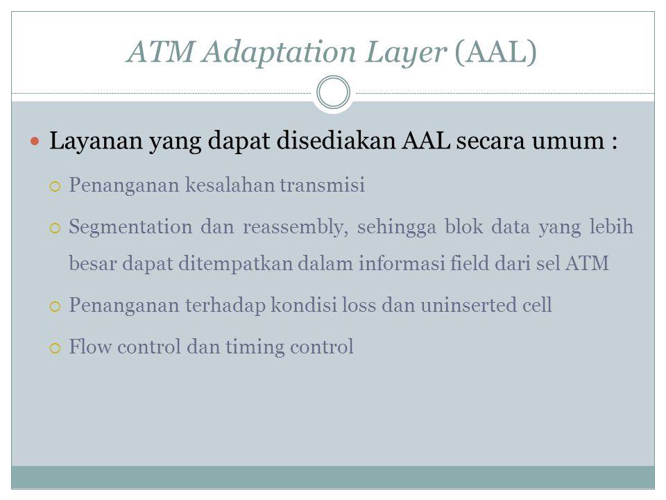 ATM Adaptation Layer (AAL) Untuk membentuk suatu sel ATM dari aplikasi pada lapisan (layer) yang lebih tinggi digunakan ATM Adaptation Layer (AAL).