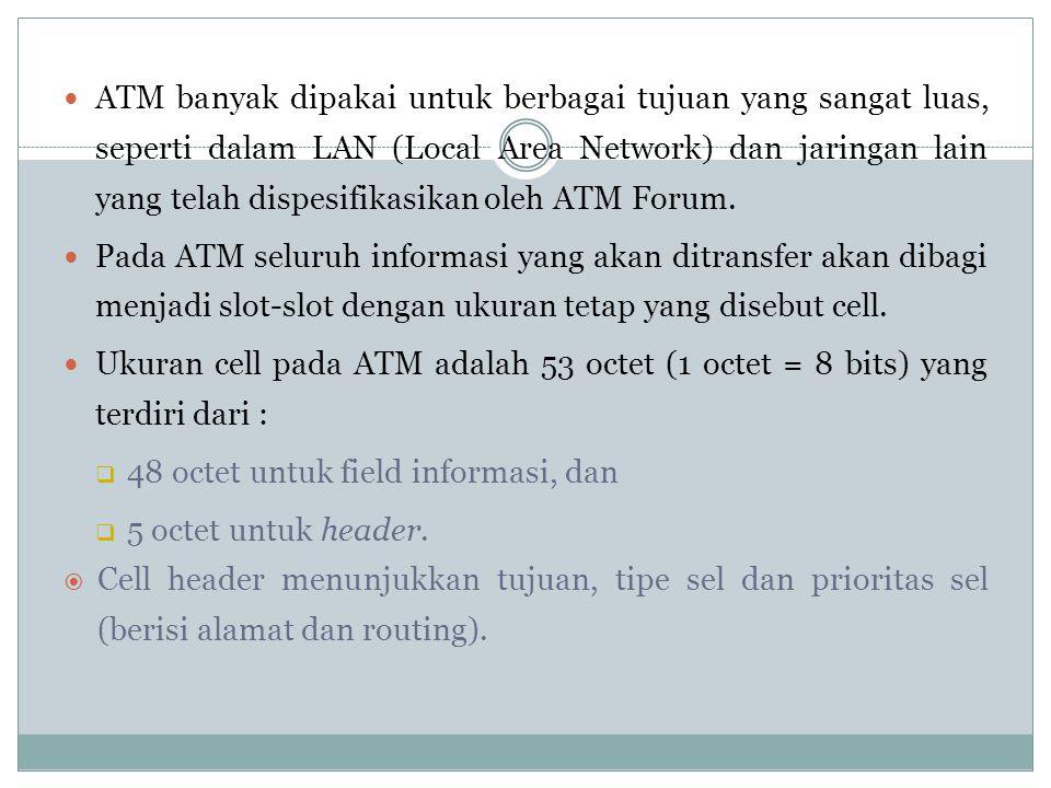 Pengertian ATM Asynchronous Transfer Mode (ATM) merupakan teknologi switching dan multiplexing berdasarkan pada sel dengan panjang tetap 53 oktet.