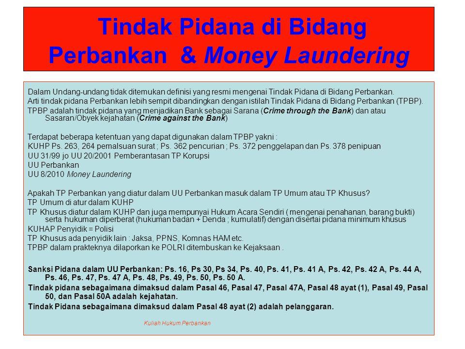 Tindak Pidana di Bidang Perbankan & Money Laundering Pasal 46 : 1.Barang siapa menghimpun dana dari masyarakat dalam bentuk simpanan tanpa izin usaha dari Pimpinan Bank Indonesia sebagaimana dimaksud dalam pasal 16, diancam dengan pidana penjara sekurang-kurangnya 5 (lima) tahun dan paling lama 15 (lima belas) tahun serta denda sekurang-kurangnya Rp.10.000.000.000 (sepuluh miliar rupiah) dan paling banyak Rp.200.000.000.000 (dua ratus miliar rupiah).