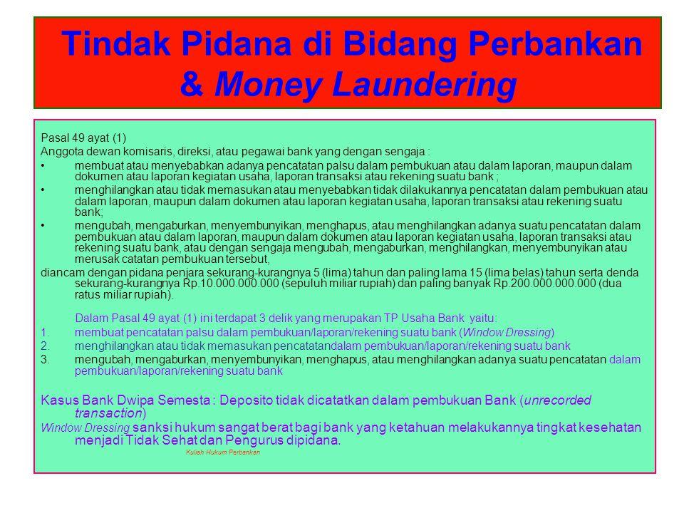 Tindak Pidana di Bidang Perbankan & Money Laundering Pasal 49 ayat (1) Anggota dewan komisaris, direksi, atau pegawai bank yang dengan sengaja : membu
