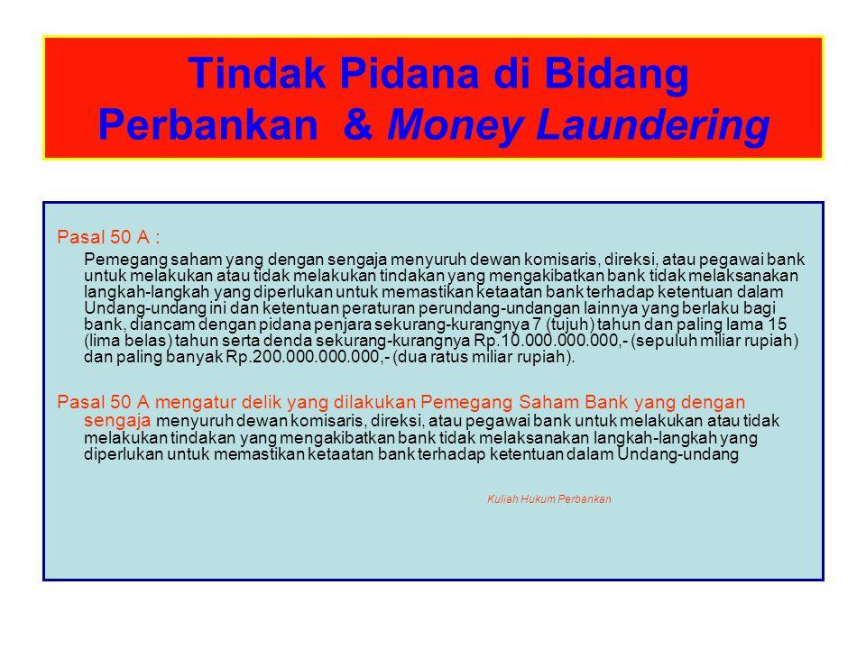 Tindak Pidana di Bidang Perbankan & Money Laundering Pasal 52 1.Dengan tidak mengurangi ketentuan pidana sebagaimana dimaksud dalam Pasal 47, Pasal 47A, Pasal 48, Pasal 49, dan Pasal 50A, Bank Indonesia dapat menetapkan sanksi administratif kepada bank yang tidak memenuhi kewajibannya sebagaimana ditentukan dalam Undang-undang ini, atau Pimpinan Bank Indonesia dapat mencabut izin usaha bank yang bersangkutan.
