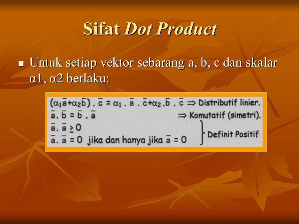 Sifat Dot Product Untuk setiap vektor sebarang a, b, c dan skalar α1, α2 berlaku: Untuk setiap vektor sebarang a, b, c dan skalar α1, α2 berlaku: