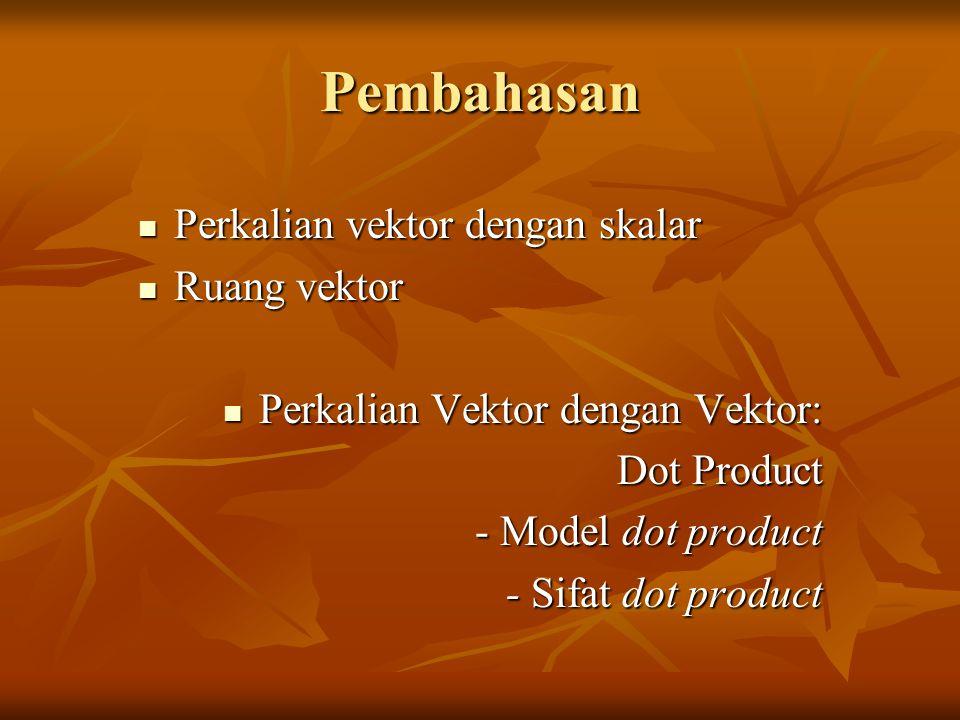Pembahasan Perkalian vektor dengan skalar Perkalian vektor dengan skalar Ruang vektor Ruang vektor Perkalian Vektor dengan Vektor: Perkalian Vektor dengan Vektor: Dot Product - Model dot product - Sifat dot product