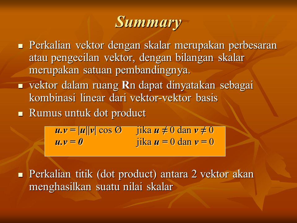 Summary Perkalian vektor dengan skalar merupakan perbesaran atau pengecilan vektor, dengan bilangan skalar merupakan satuan pembandingnya.