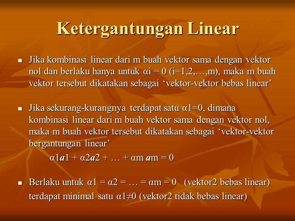 Basis 'n Dimensi Ruang Vektor Suatu vektor riil R memiliki dimensi n ditulis sebagai Rn jika dan hanya jika terdapat n buah vektor dalam R yang saling bebas linear Suatu vektor riil R memiliki dimensi n ditulis sebagai Rn jika dan hanya jika terdapat n buah vektor dalam R yang saling bebas linear n buah vektor bebas linear dalam R disebut sebagai 'vektor basis'.