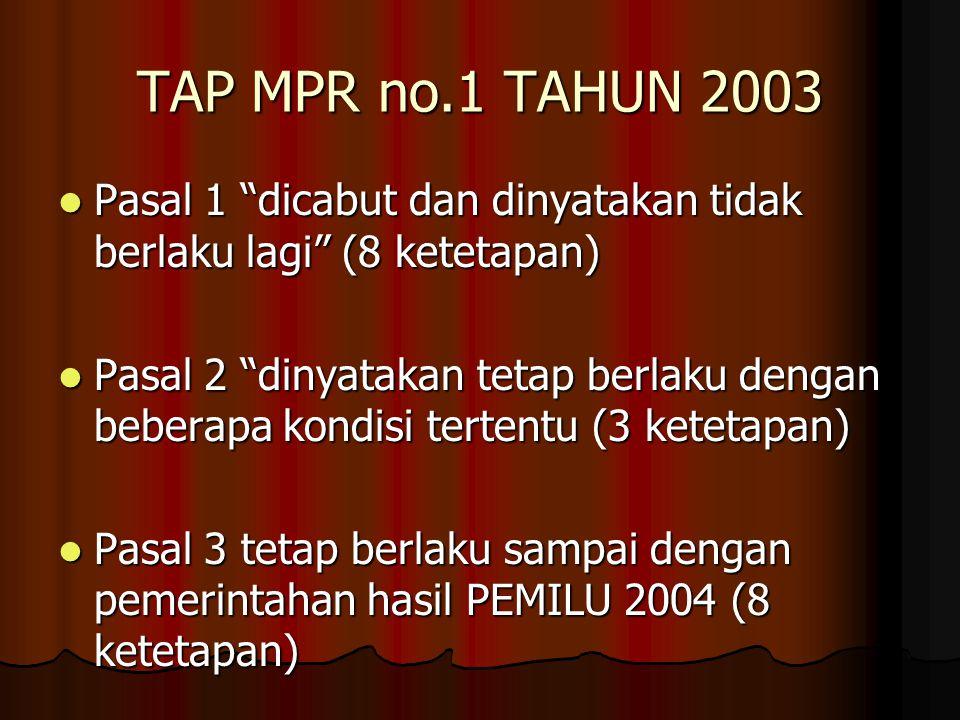 """TAP MPR no.1 TAHUN 2003 Pasal 1 """"dicabut dan dinyatakan tidak berlaku lagi"""" (8 ketetapan) Pasal 1 """"dicabut dan dinyatakan tidak berlaku lagi"""" (8 ketet"""