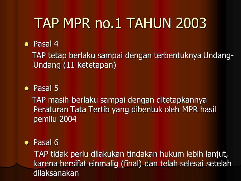 TAP MPR no.1 TAHUN 2003 Pasal 4 Pasal 4 TAP tetap berlaku sampai dengan terbentuknya Undang- Undang (11 ketetapan) TAP tetap berlaku sampai dengan ter