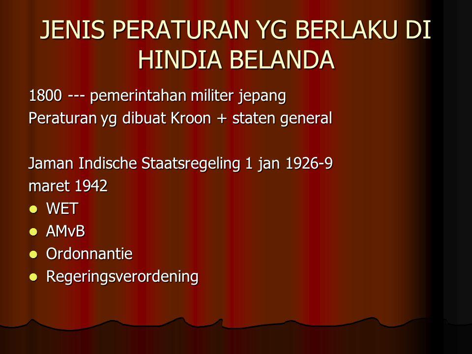 JENIS PERATURAN YG BERLAKU DI HINDIA BELANDA 1800 --- pemerintahan militer jepang Peraturan yg dibuat Kroon + staten general Jaman Indische Staatsrege