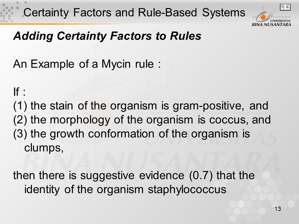 13 Certainty Factors and Rule-Based Systems Adding Certainty Factors to Rules An Example of a Mycin rule : If : (1) the stain of the organism is gram-positive, and (2) the morphology of the organism is coccus, and (3) the growth conformation of the organism is clumps, then there is suggestive evidence (0.7) that the identity of the organism staphylococcus