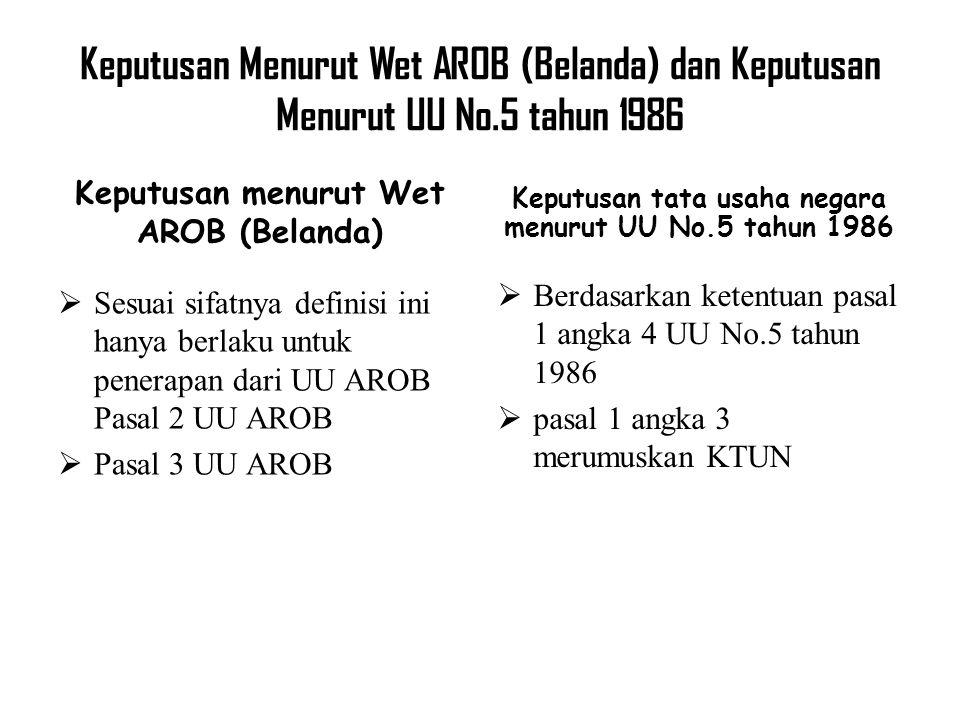 Keputusan Menurut Wet AROB (Belanda) dan Keputusan Menurut UU No.5 tahun 1986 Keputusan menurut Wet AROB (Belanda)  Sesuai sifatnya definisi ini hany