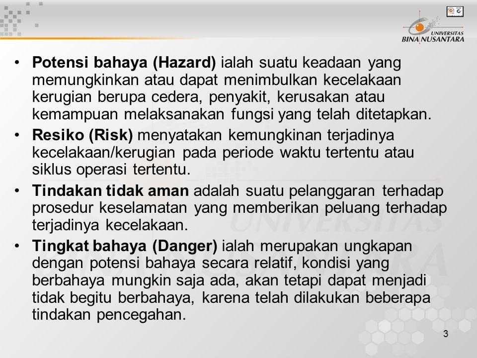 3 Potensi bahaya (Hazard) ialah suatu keadaan yang memungkinkan atau dapat menimbulkan kecelakaan kerugian berupa cedera, penyakit, kerusakan atau kem