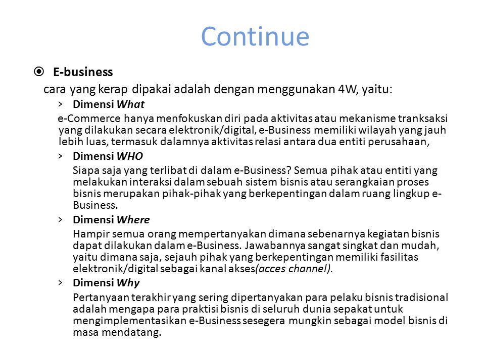 Continue  E-business cara yang kerap dipakai adalah dengan menggunakan 4W, yaitu: › Dimensi What e-Commerce hanya menfokuskan diri pada aktivitas ata