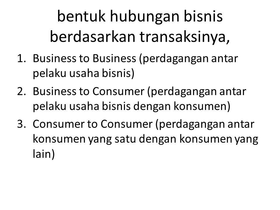 bentuk hubungan bisnis berdasarkan transaksinya, 1.Business to Business (perdagangan antar pelaku usaha bisnis) 2.Business to Consumer (perdagangan an