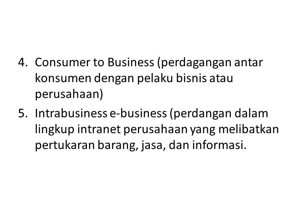 4.Consumer to Business (perdagangan antar konsumen dengan pelaku bisnis atau perusahaan) 5.Intrabusiness e-business (perdangan dalam lingkup intranet