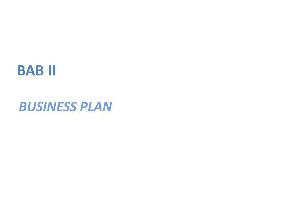 BUSINESS PLAN BAB II