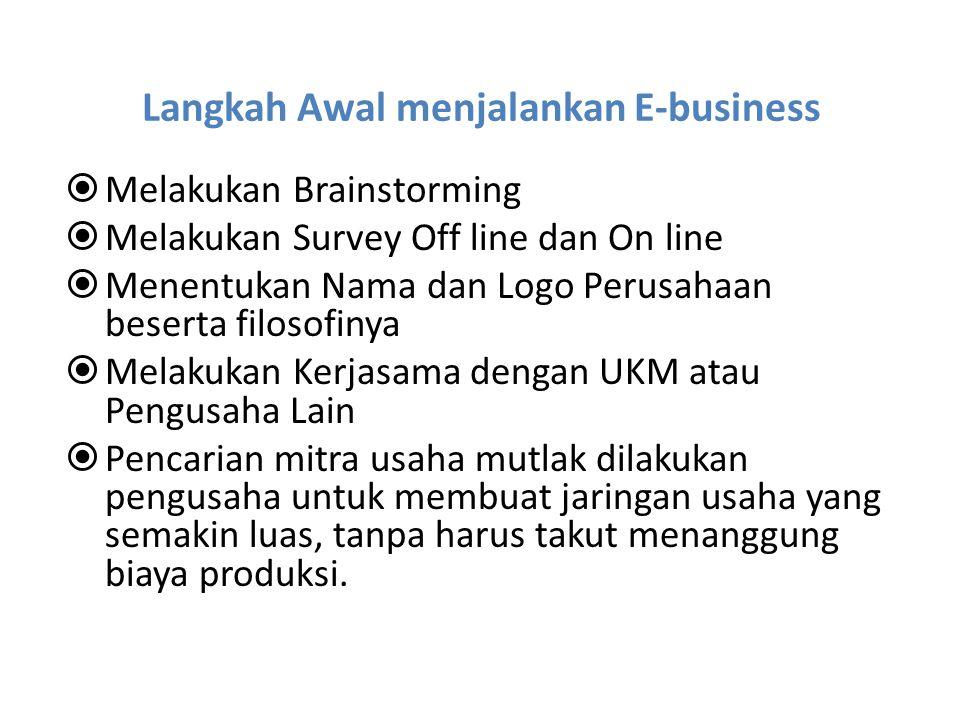 Langkah Awal menjalankan E-business  Melakukan Brainstorming  Melakukan Survey Off line dan On line  Menentukan Nama dan Logo Perusahaan beserta fi