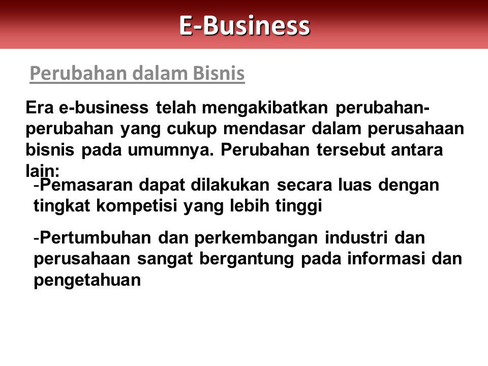 Perubahan dalam BisnisE-Business Era e-business telah mengakibatkan perubahan- perubahan yang cukup mendasar dalam perusahaan bisnis pada umumnya. Per