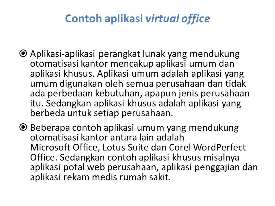 Contoh aplikasi virtual office  Aplikasi-aplikasi perangkat lunak yang mendukung otomatisasi kantor mencakup aplikasi umum dan aplikasi khusus. Aplik