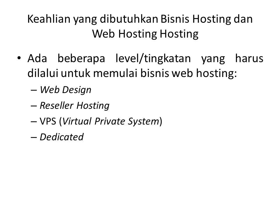 Keahlian yang dibutuhkan Bisnis Hosting dan Web Hosting Hosting Ada beberapa level/tingkatan yang harus dilalui untuk memulai bisnis web hosting: – We