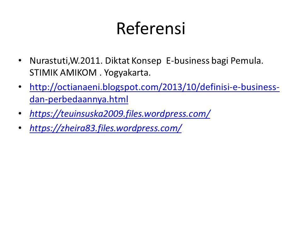 Referensi Nurastuti,W.2011. Diktat Konsep E-business bagi Pemula. STIMIK AMIKOM. Yogyakarta. http://octianaeni.blogspot.com/2013/10/definisi-e-busines