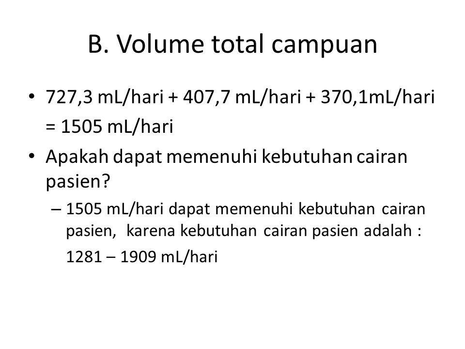 B. Volume total campuan 727,3 mL/hari + 407,7 mL/hari + 370,1mL/hari = 1505 mL/hari Apakah dapat memenuhi kebutuhan cairan pasien? – 1505 mL/hari dapa