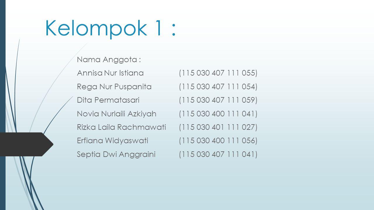 Kelompok 1 : Nama Anggota : Annisa Nur Istiana (115 030 407 111 055) Rega Nur Puspanita(115 030 407 111 054) Dita Permatasari(115 030 407 111 059) Nov