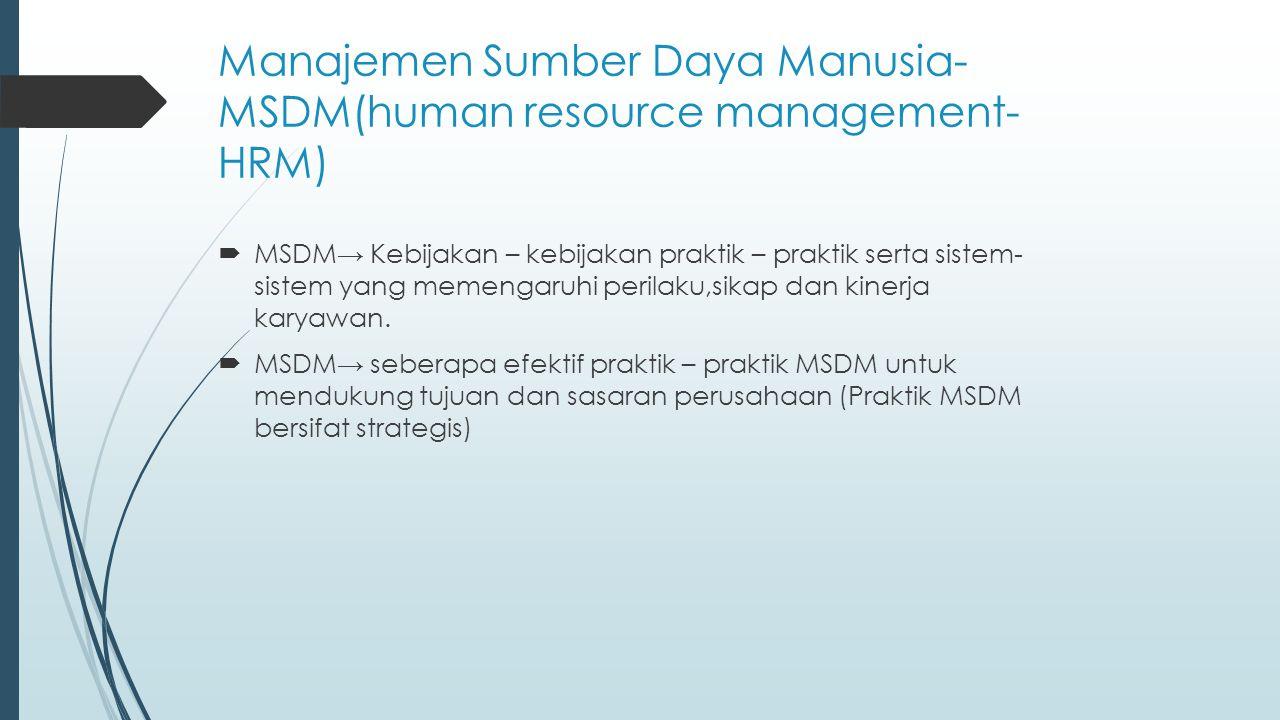 Manajemen Sumber Daya Manusia- MSDM(human resource management- HRM)  MSDM→ Kebijakan – kebijakan praktik – praktik serta sistem- sistem yang memengar