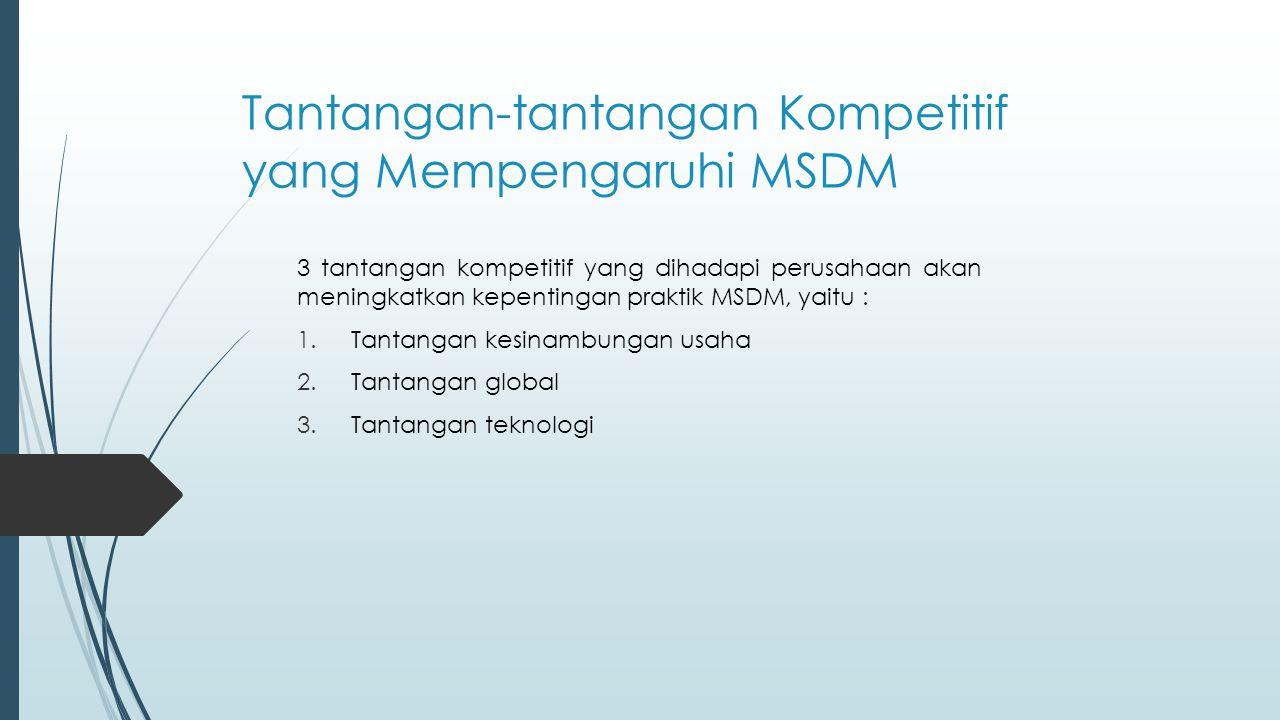 Tantangan-tantangan Kompetitif yang Mempengaruhi MSDM 3 tantangan kompetitif yang dihadapi perusahaan akan meningkatkan kepentingan praktik MSDM, yait