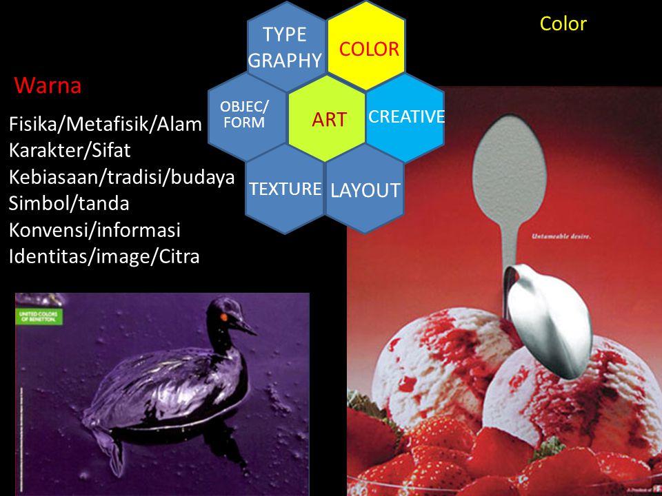 CREATIVE ART COLOR TYPE GRAPHY TEXTURE LAYOUT OBJEC/ FORM Color Fisika/Metafisik/Alam Karakter/Sifat Kebiasaan/tradisi/budaya Simbol/tanda Konvensi/in