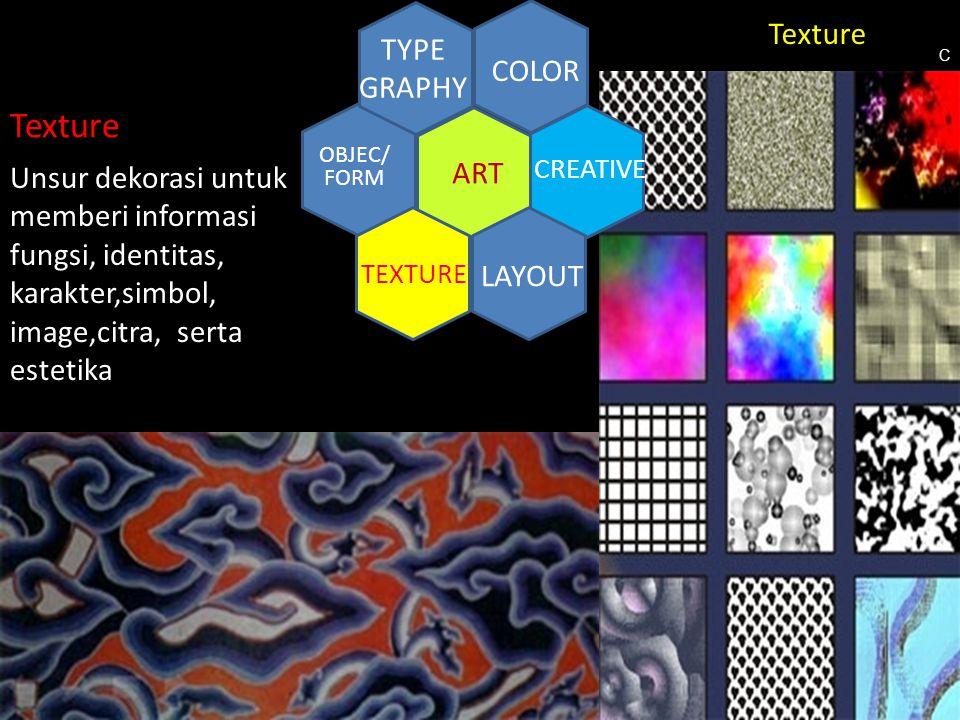 CREATIVE ART COLOR TYPE GRAPHY TEXTURE LAYOUT OBJEC/ FORM Texture Unsur dekorasi untuk memberi informasi fungsi, identitas, karakter,simbol, image,cit