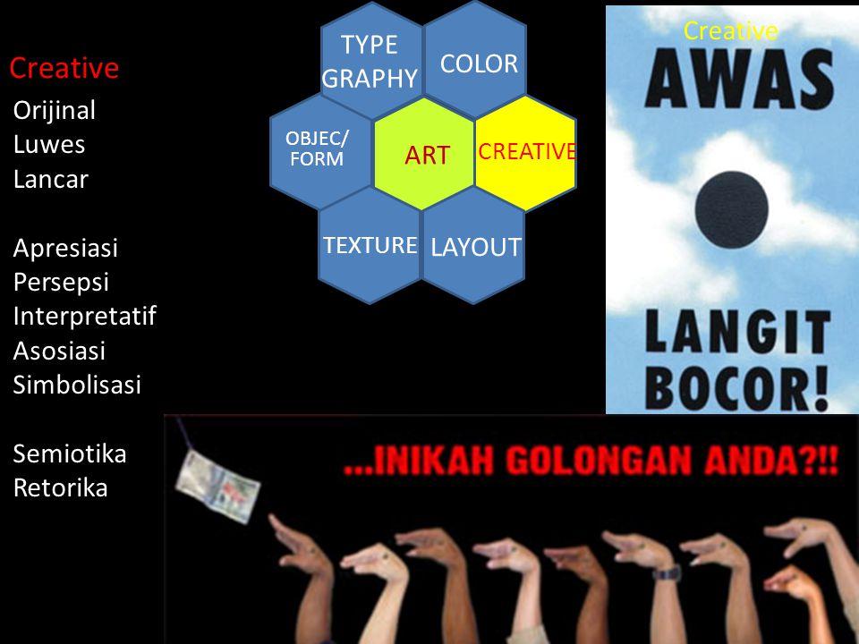 CREATIVE ART COLOR TYPE GRAPHY TEXTURE LAYOUT OBJEC/ FORM Creative Orijinal Luwes Lancar Apresiasi Persepsi Interpretatif Asosiasi Simbolisasi Semioti