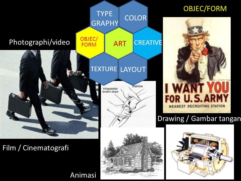 ART COLOR TYPE GRAPHY TEXTURE LAYOUT CREATIVE OBJEC/ FORM Photographi/video Film / Cinematografi Drawing / Gambar tangan Animasi