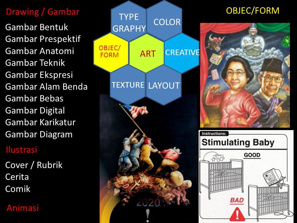 ART COLOR TYPE GRAPHY TEXTURE LAYOUT CREATIVE OBJEC/ FORM Ilustrasi Drawing / Gambar Cover / Rubrik Cerita Comik Animasi Gambar Bentuk Gambar Prespekt