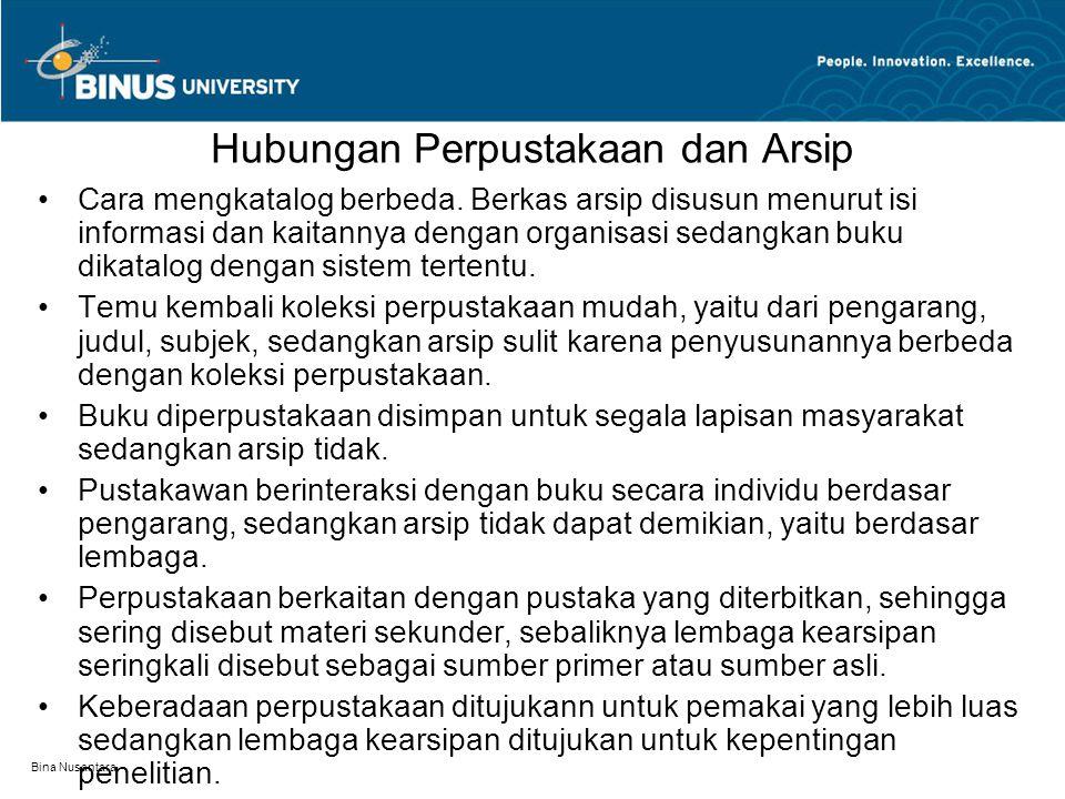 Bina Nusantara Hubungan Perpustakaan dan Arsip Cara mengkatalog berbeda.
