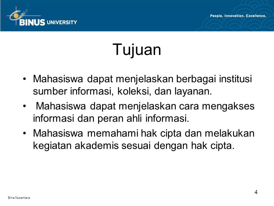 Bina Nusantara Mahasiswa dapat menjelaskan berbagai institusi sumber informasi, koleksi, dan layanan.