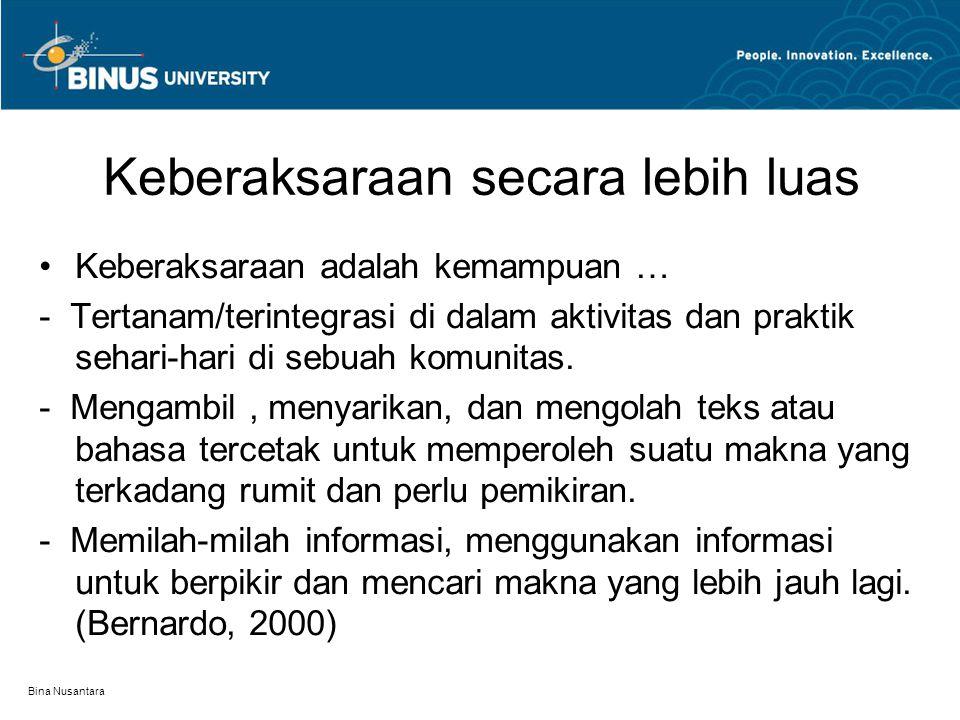 Bina Nusantara Keberaksaraan secara lebih luas Keberaksaraan adalah kemampuan … - Tertanam/terintegrasi di dalam aktivitas dan praktik sehari-hari di sebuah komunitas.