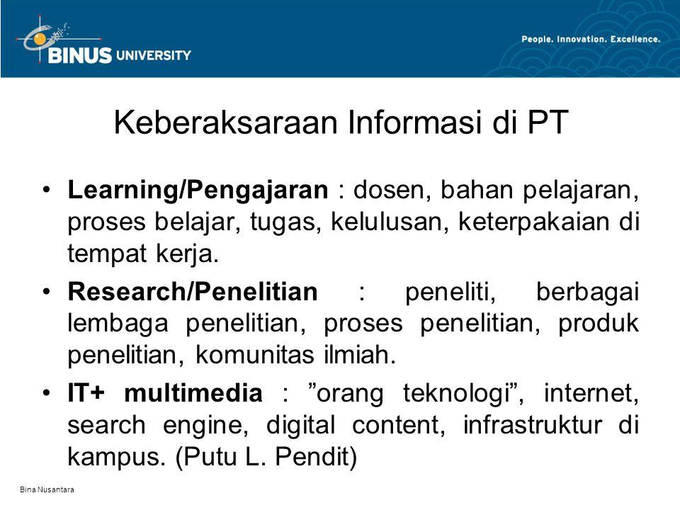 Bina Nusantara Keberaksaraan Informasi di PT Learning/Pengajaran : dosen, bahan pelajaran, proses belajar, tugas, kelulusan, keterpakaian di tempat kerja.