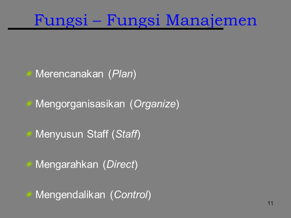 11 Fungsi – Fungsi Manajemen  Merencanakan (Plan)  Mengorganisasikan (Organize)  Menyusun Staff (Staff)  Mengarahkan (Direct)  Mengendalikan (Control)