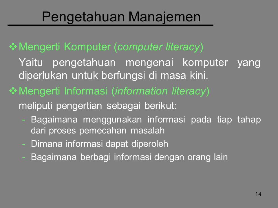 14 Pengetahuan Manajemen  Mengerti Komputer (computer literacy) Yaitu pengetahuan mengenai komputer yang diperlukan untuk berfungsi di masa kini.