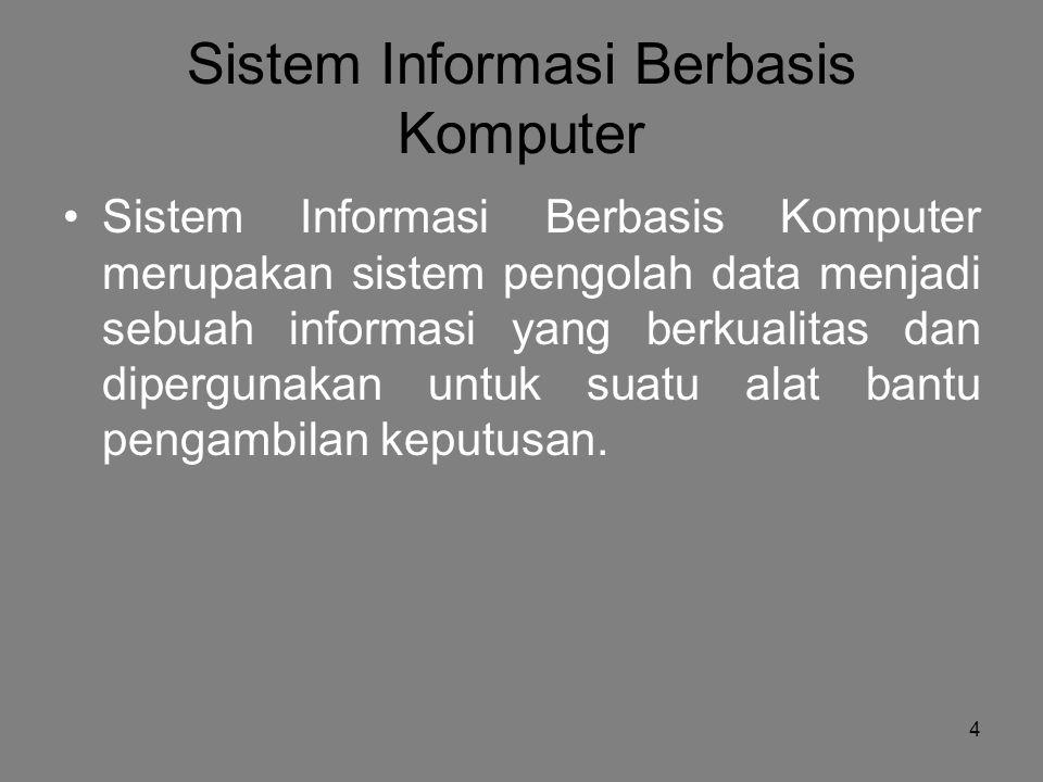 4 Sistem Informasi Berbasis Komputer Sistem Informasi Berbasis Komputer merupakan sistem pengolah data menjadi sebuah informasi yang berkualitas dan dipergunakan untuk suatu alat bantu pengambilan keputusan.