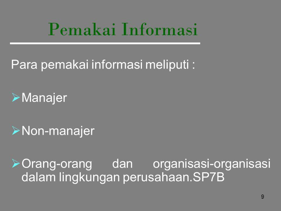 9 Pemakai Informasi Para pemakai informasi meliputi :  Manajer  Non-manajer  Orang-orang dan organisasi-organisasi dalam lingkungan perusahaan.SP7B