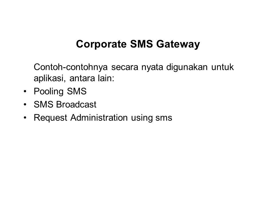 Contoh-contohnya secara nyata digunakan untuk aplikasi, antara lain: Pooling SMS SMS Broadcast Request Administration using sms