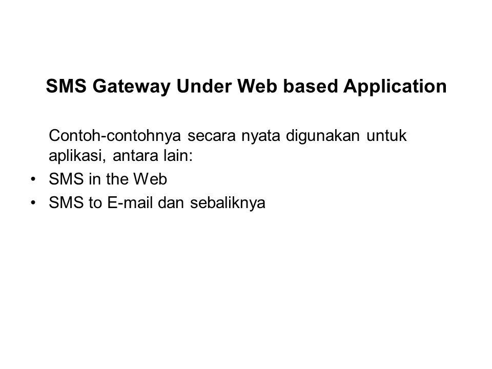 Contoh-contohnya secara nyata digunakan untuk aplikasi, antara lain: SMS in the Web SMS to E-mail dan sebaliknya