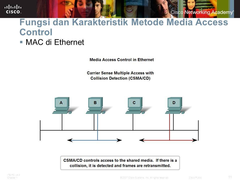 ITE PC v4.0 Chapter 1 11 © 2007 Cisco Systems, Inc. All rights reserved.Cisco Public Fungsi dan Karakteristik Metode Media Access Control  MAC di Eth